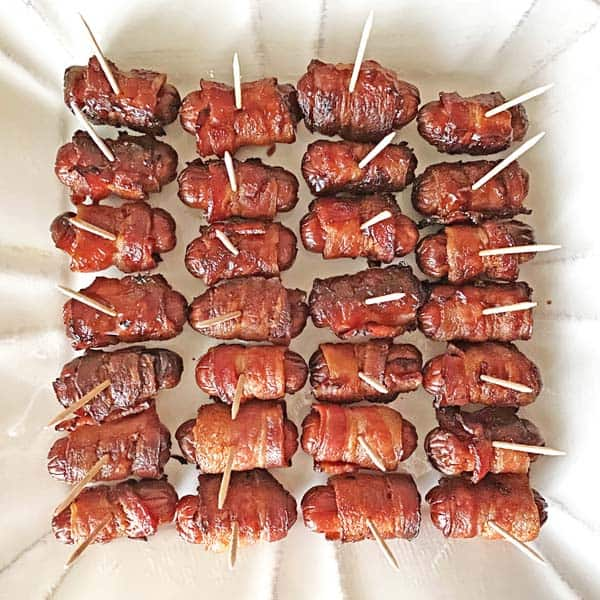 Bacon wrapped Little Smokies ready for serving