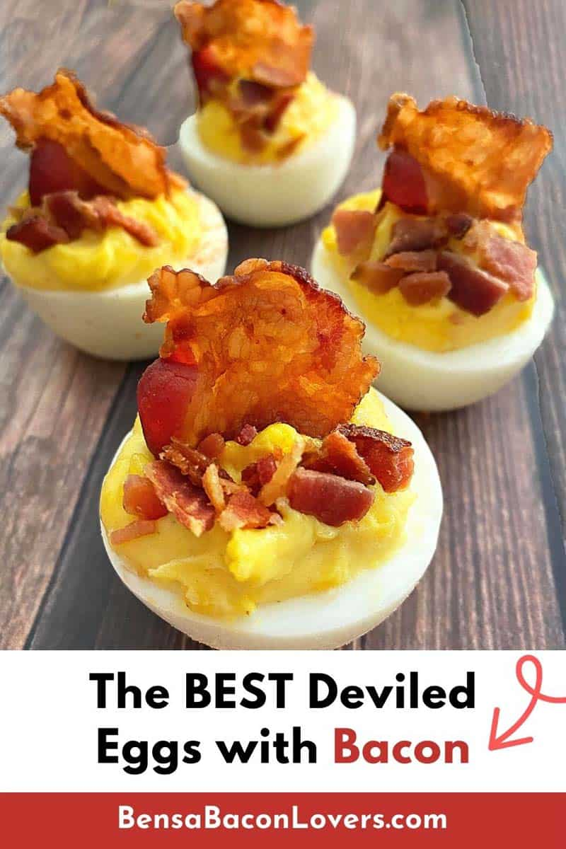 deviled eggs with bacon pin for Pinterest