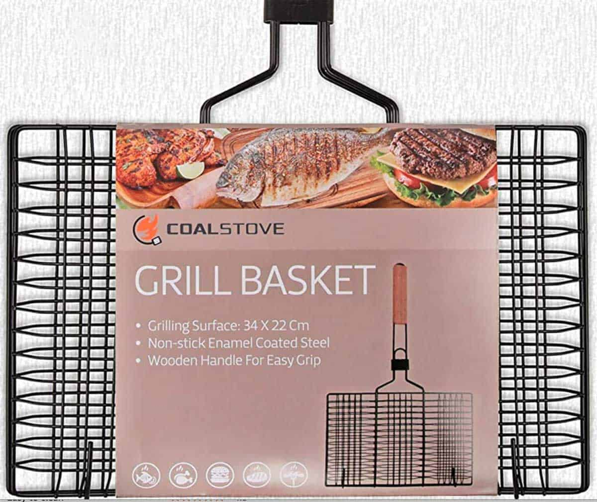 A 14 by 19-inch black wire grilling basket with a wooden handle.