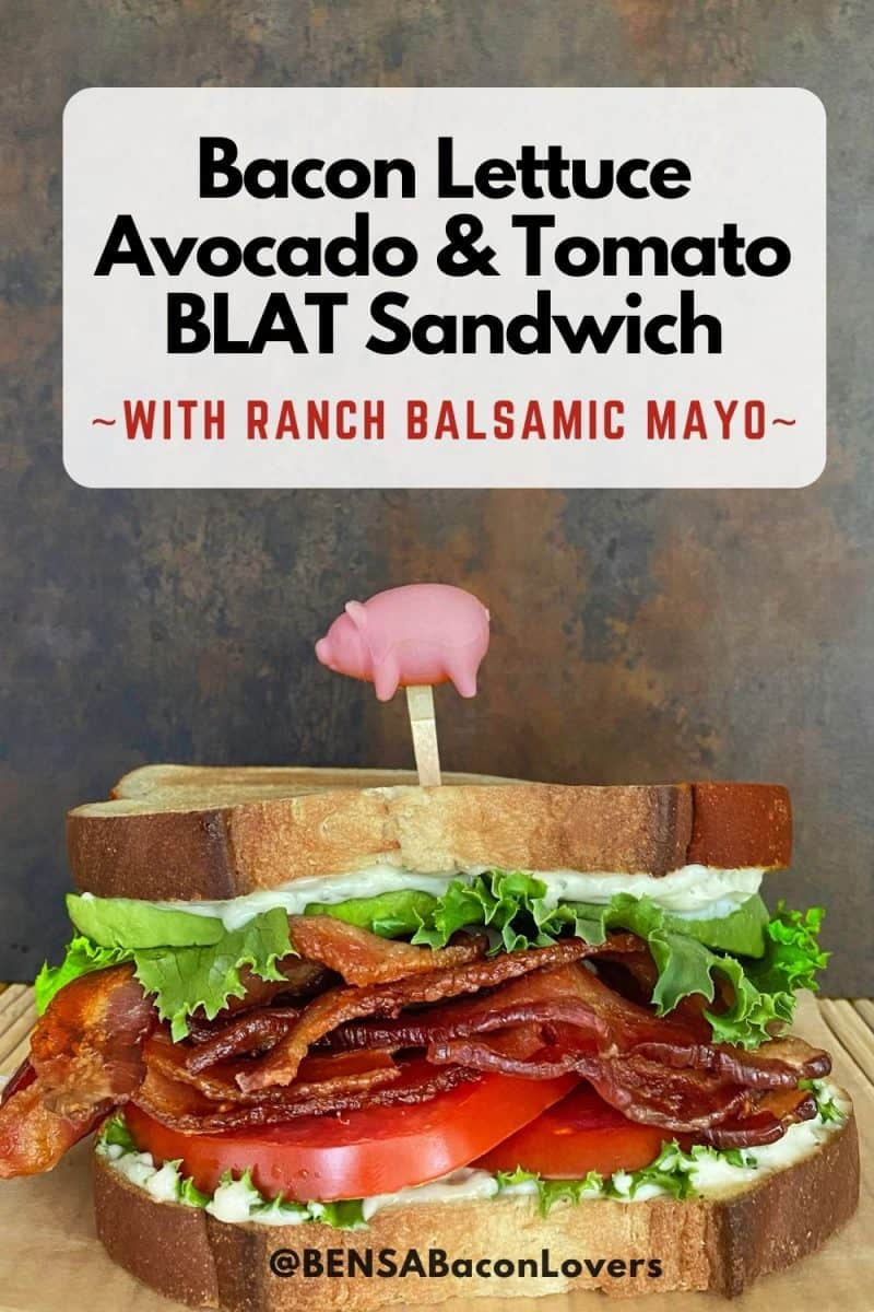 Bacon lettuce avocado and tomato sandwich with ranch balsamic mayo, held together with a pig topped pick