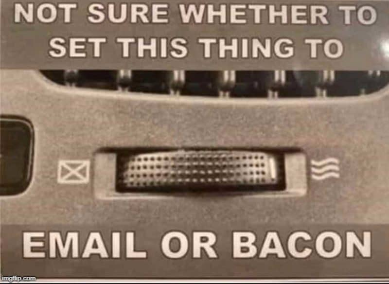 A car vent control with confusing graphics and text: Not sure whether to set this thing to Email or Bacon