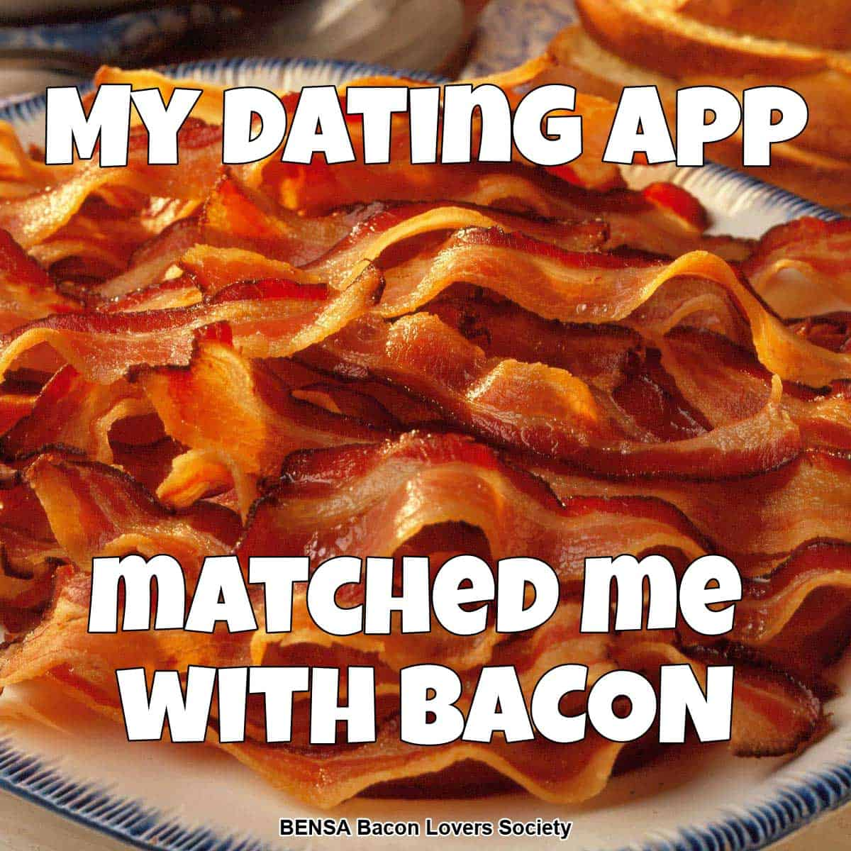 A plate of bacon and text: My Dating App Matched Me With Bacon