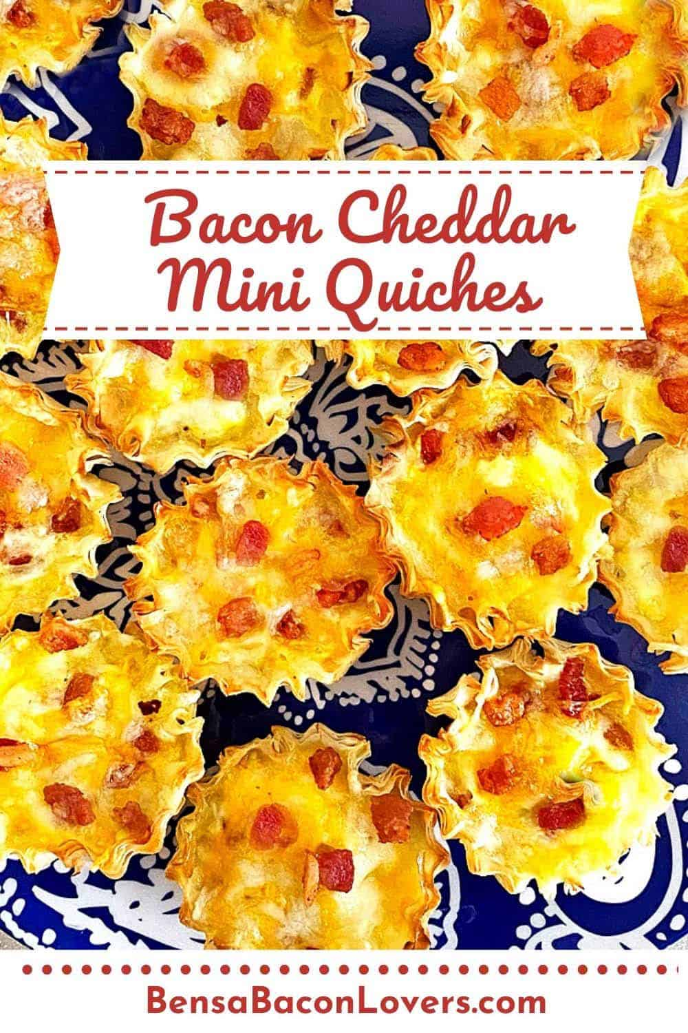 A close up shot of a dozen mini quiches on a blue plate with text: Bacon Cheddar Mini Quiches